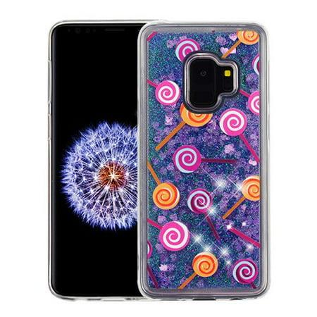Samsung Galaxy S9 - Phone Case BLING Hybrid Liquid Glitter Quicksand Rubber Silicone Gel TPU Protector Hard Cover - Lollipop