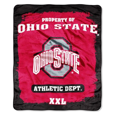 NCAA Officially Licensed Micro Raschel Plush Grunge Series Fleece Throw Blanket (Ohio State -