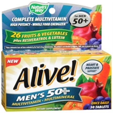 ALIVE! Way Nature Une fois par jour 50+ Suractivé hommes multivitamines 50 de ea (Pack de 6)