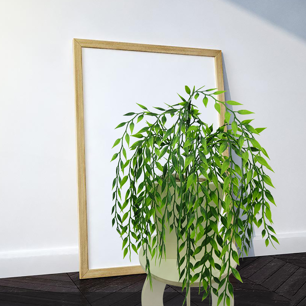 Micelec 1 Bouquet Artificial Green Plant Plastic Wicker Home Office Wall Hanging Decor