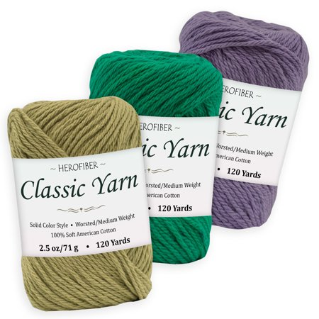 Cotton Yarn - 3 Solid Colors [2.5 oz Each] | Olive + Green Shamrock + Purple Iris | Worsted/Medium Weight - Assortment for Knitting, Crochet, Needlework, Decor, Arts & Crafts Projects