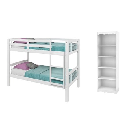 Hawthorn 2 Piece Kids Bedroom Set with Bunk Bed and Bookcase in White - image 9 de 9