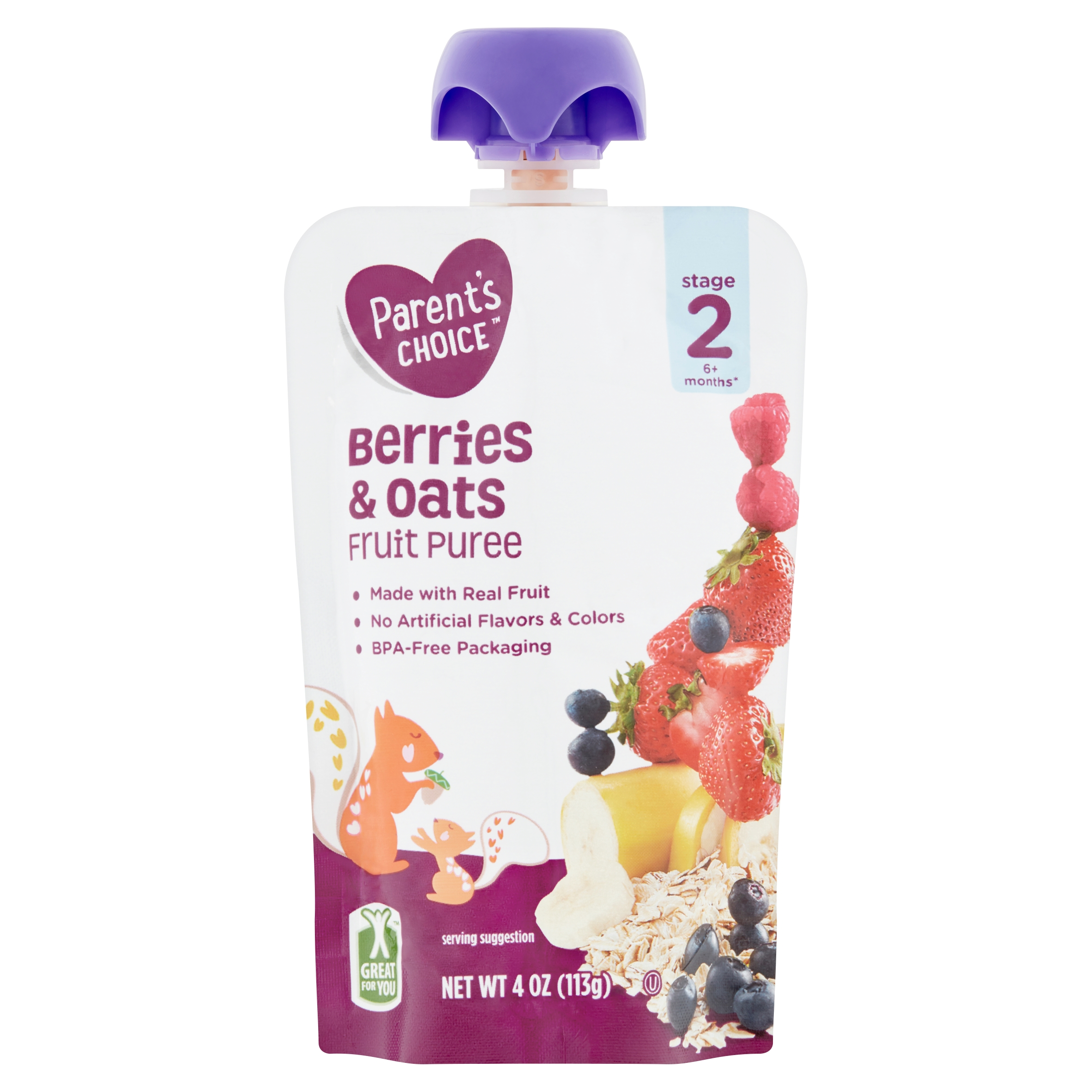 Parent's Choice Berries & Oats, Stage 2, 4 oz Pouch