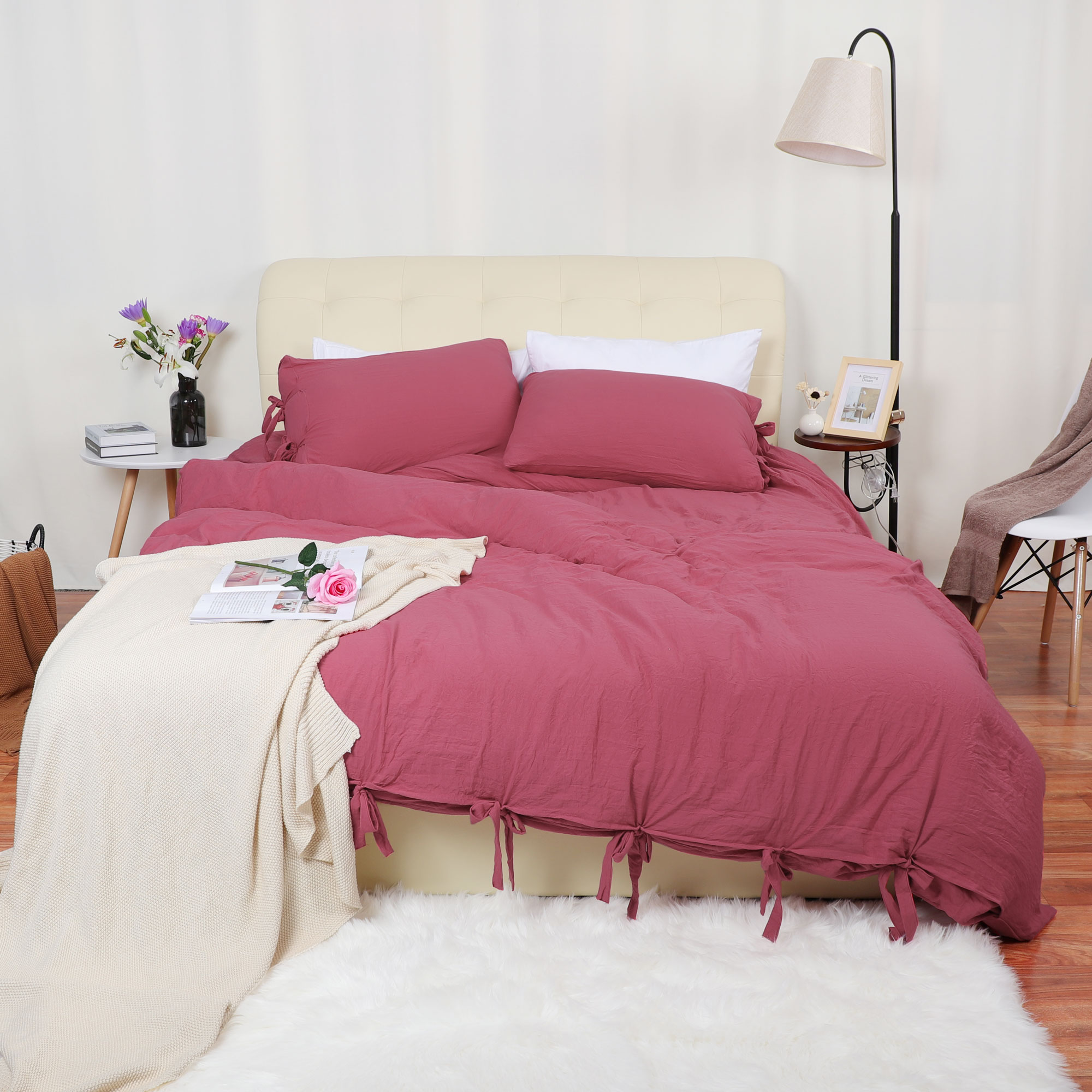 Washed Cotton Bedding Duvet Cover Pillowcase Solid Color Queen Light Purple