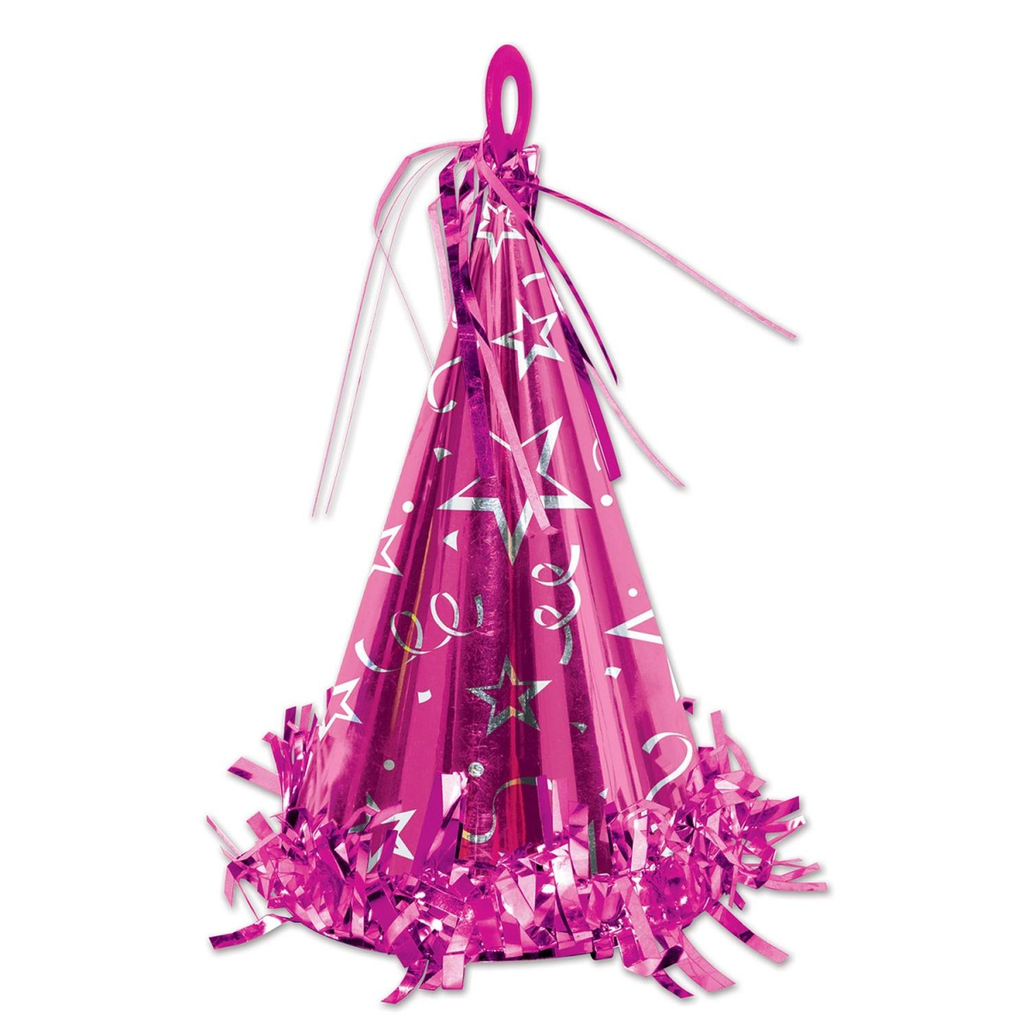 Club Pack of 12 Cerise Party Hat Balloon Weight Decorative Birthday Centerpieces 6 oz.
