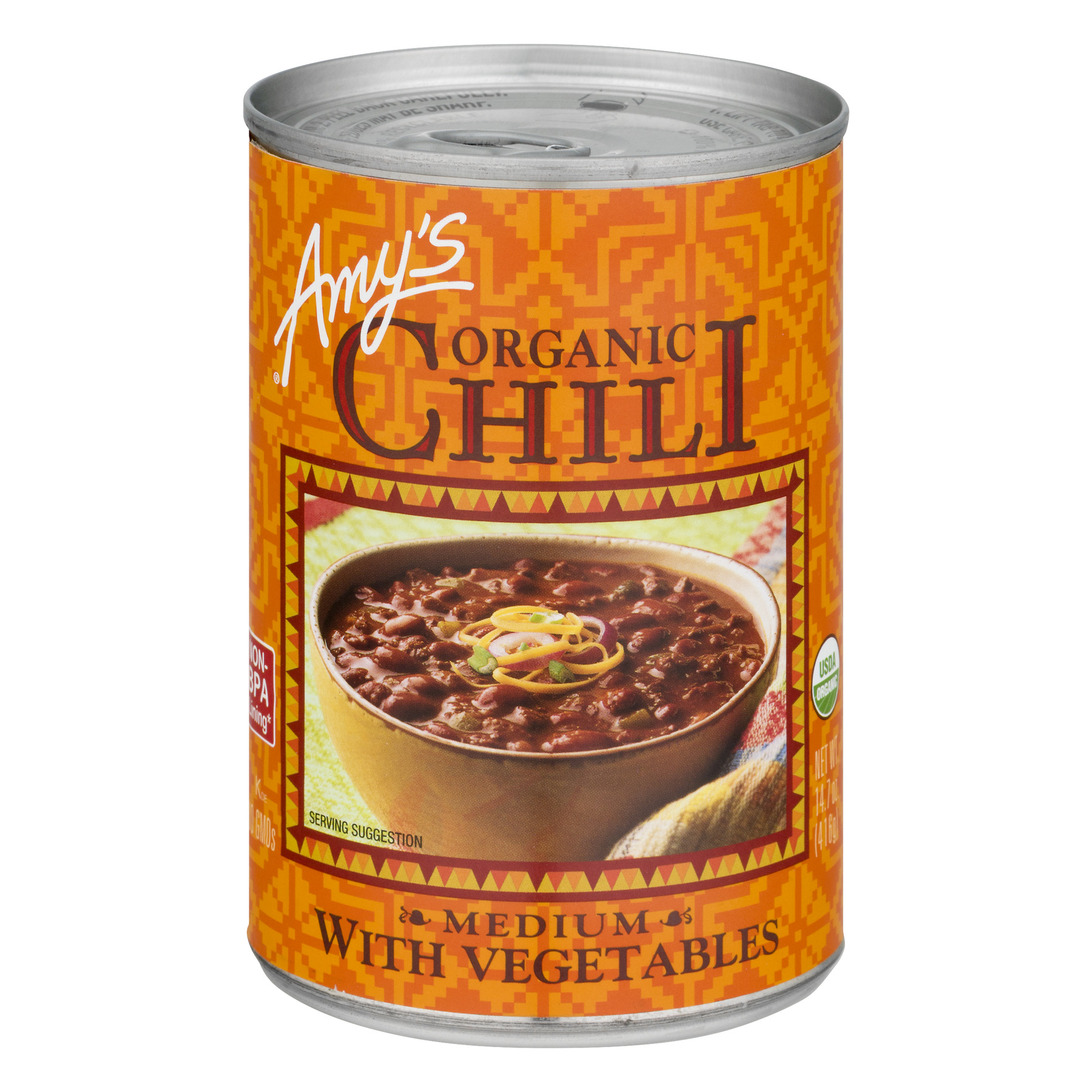 (6 Pack) Amy's Organic Chili With Vegetables Medium, 14.7 Oz