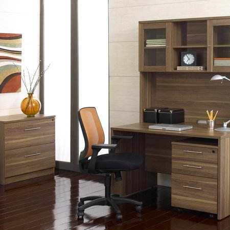 Jesper Computer Desk And Hutch With Optional Filing Cabinets Walnut