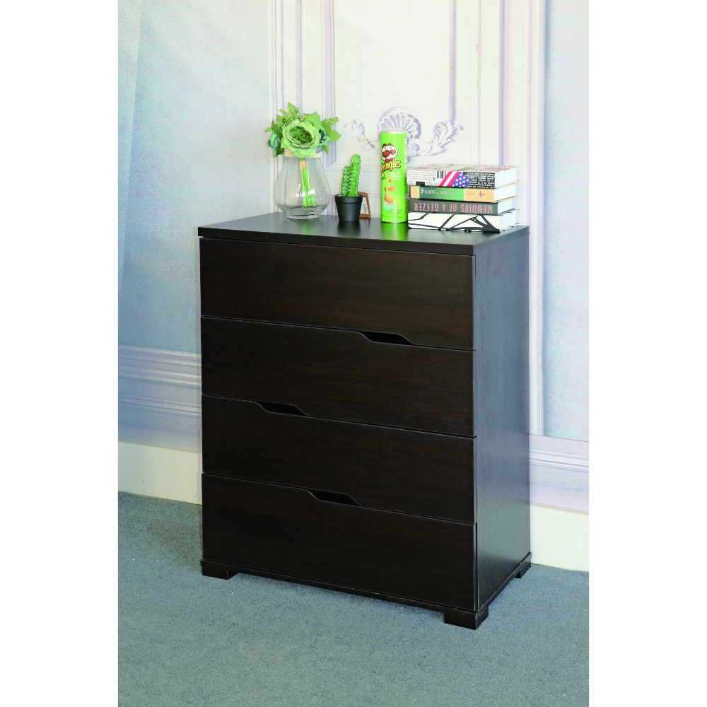 Spacious Chest With Four Storage Drawers, Dark Brown.