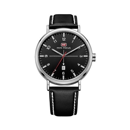 Mens Quartz Watch Black Leather Strap Arabia Style 3 Hands Date Display for Friends Lovers Best Holiday Gift
