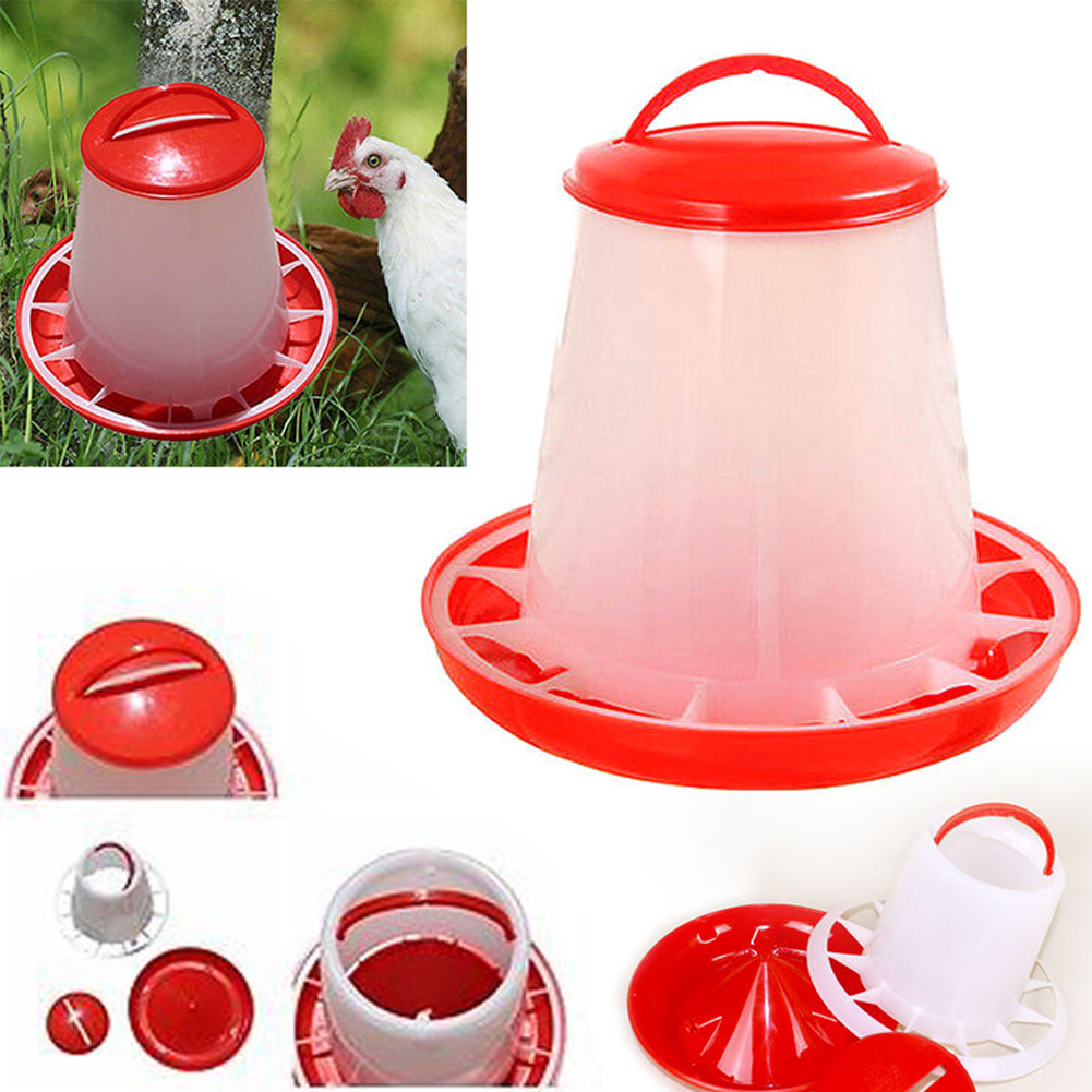 Girl12Queen Plastic Chicken Quail Poultry Chick Hen Drinker Food Feeder Waterer Bucket 1.5L