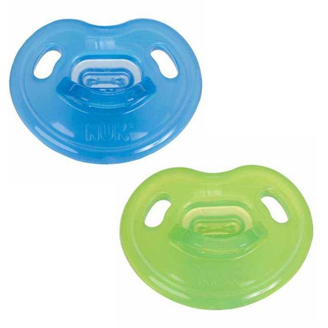 NUK Advanced Size 1 Orthodontic 1% Silicone Pacifier 2-Pack - Blue/Green