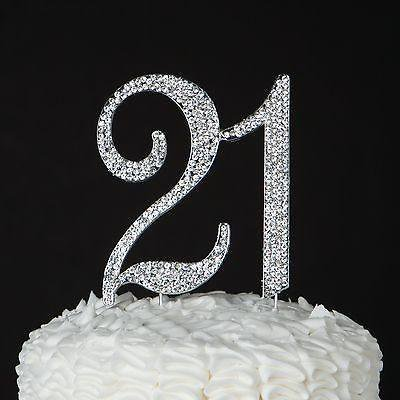 21 Cake Topper For 21st Birthday Party Supplies Decoration Ideas Silver