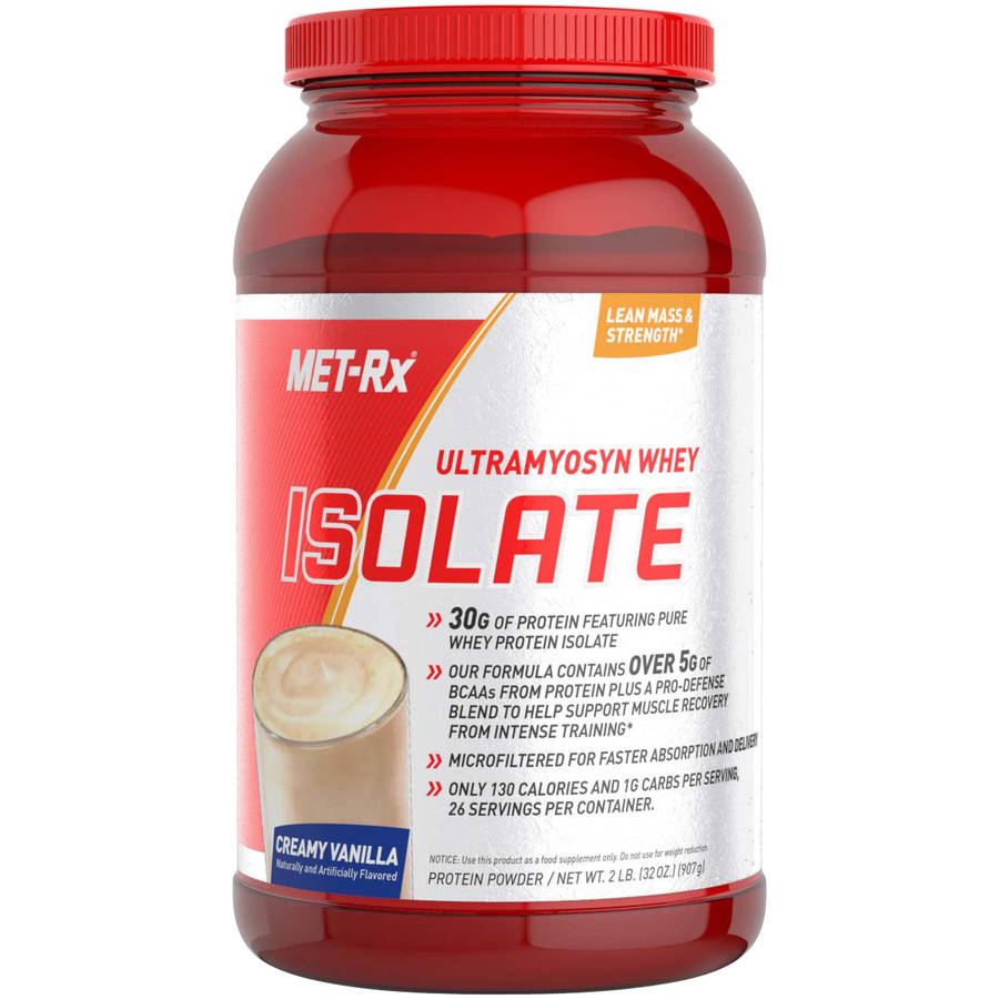 MET-Rx Ultramyosyn Whey Isolate Creamy Vanilla Flavor Protein Powder Dietary Supplement, 32 oz