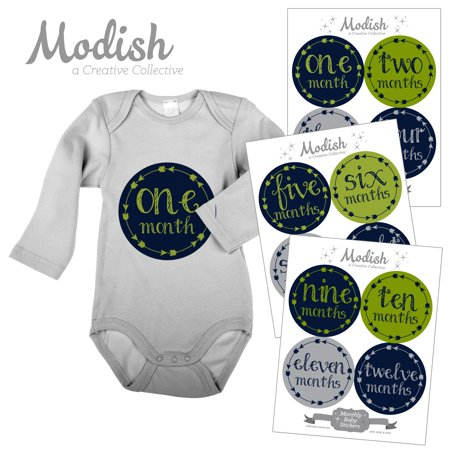 Modish Monthly Baby Stickers, Boy, Arrows, Tribal, Lime Green, Navy Blue, Gray, Baby Photo Prop, Baby Shower Gift, Baby Book