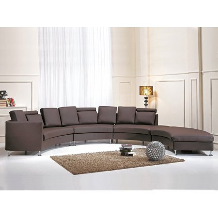 Beliani Curved Sectional Sofa Brown Leather ROTUNDE ...