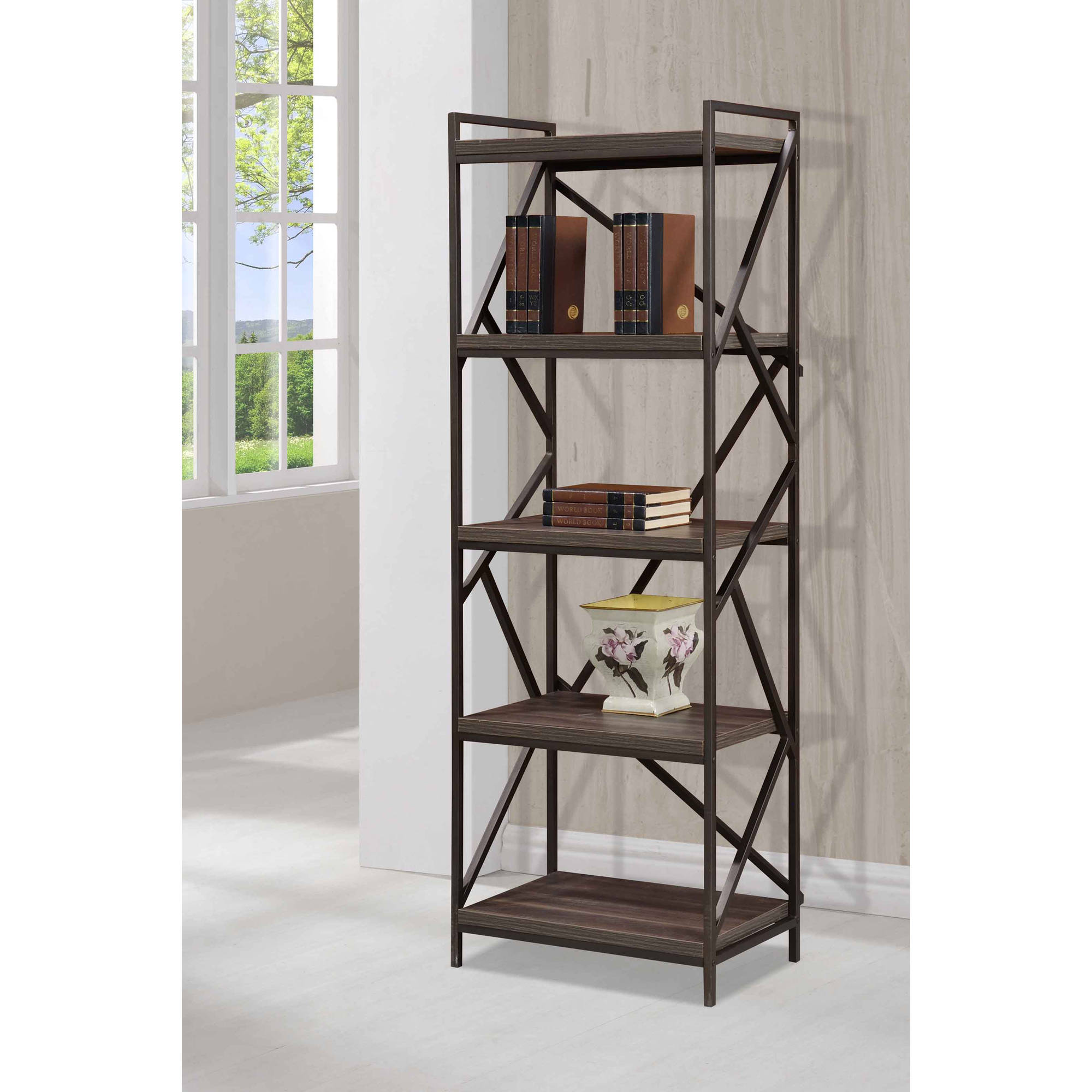 Imagio Home's Lifestyles Studio Living Collection Metal/Wood 5-Tier Shelf, Weathered Dark Grey
