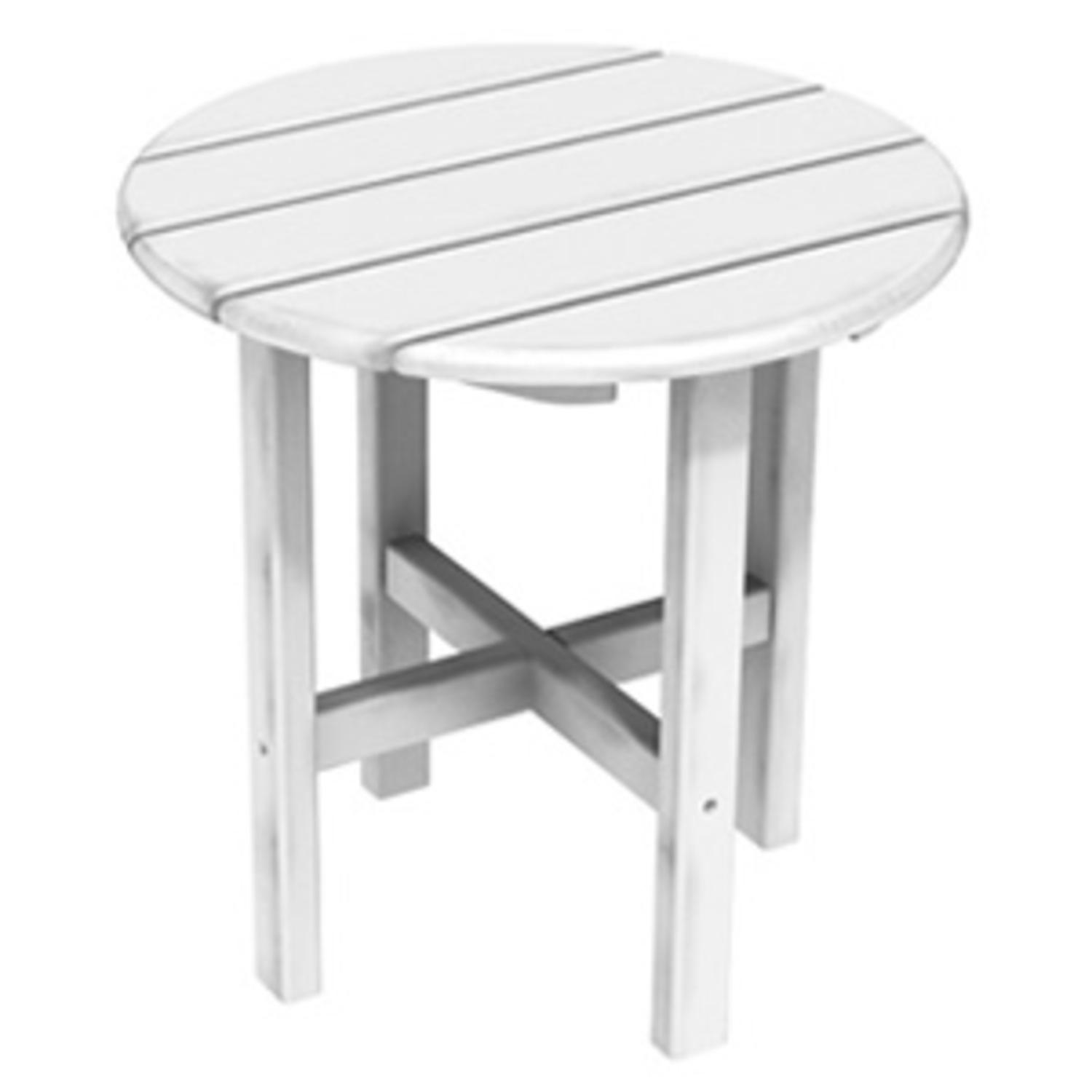 """18"""" Recycled Earth-Friendly Outdoor Patio Round Side Table - White"""
