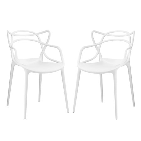 Modern Contemporary Urban Design Outdoor Kitchen Room Dining Chair Set ( Set of Two), White, Plastic ()