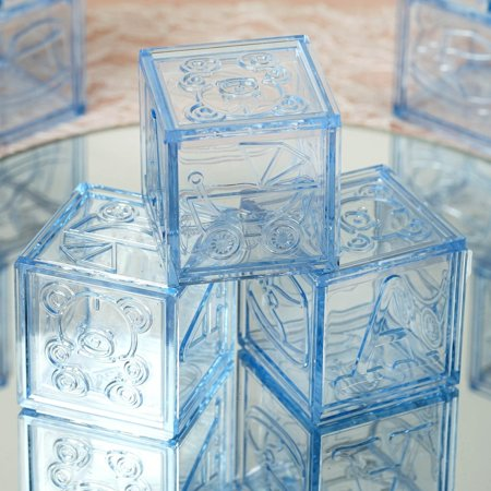 BalsaCircle 12 pcs Plastic Blocks Baby Shower - DIY Favors Party Decorations Crafts - Clear Plastic Favor Bags