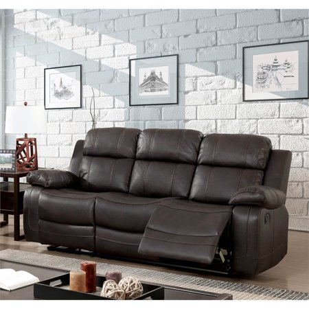 Furniture Of America Alise Faux Leather Reclining Sofa In Brown