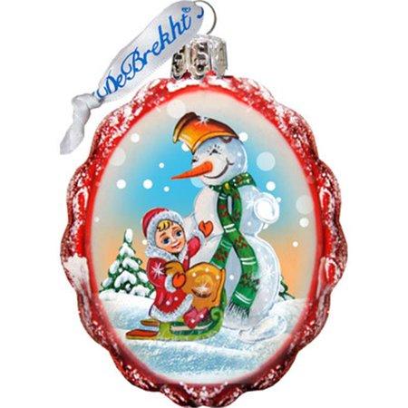 G Debrekht Keepsake Playing Snowman Glass Ornament