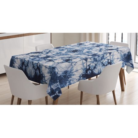 Tie Dye Decor Tablecloth, Old Fashion Kaleidoscope Loose Unfold Motley Pattern with Inner Outer Layers, Rectangular Table Cover for Dining Room Kitchen, 60 X 84 Inches, Indigo Grey, by - Tie Dye Tablecloth