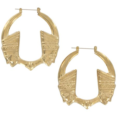 Pierced Earrings Hoop Big Egyptian Pharoah Gold Tone 2 1/2