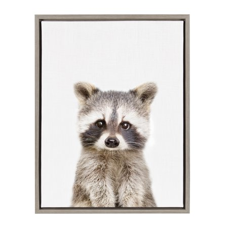 Kate and Laurel Sylvie Baby Raccoon Animal Print Portrait Framed Canvas Wall Art by Amy Peterson, 18x24 (Raccoon Framed)