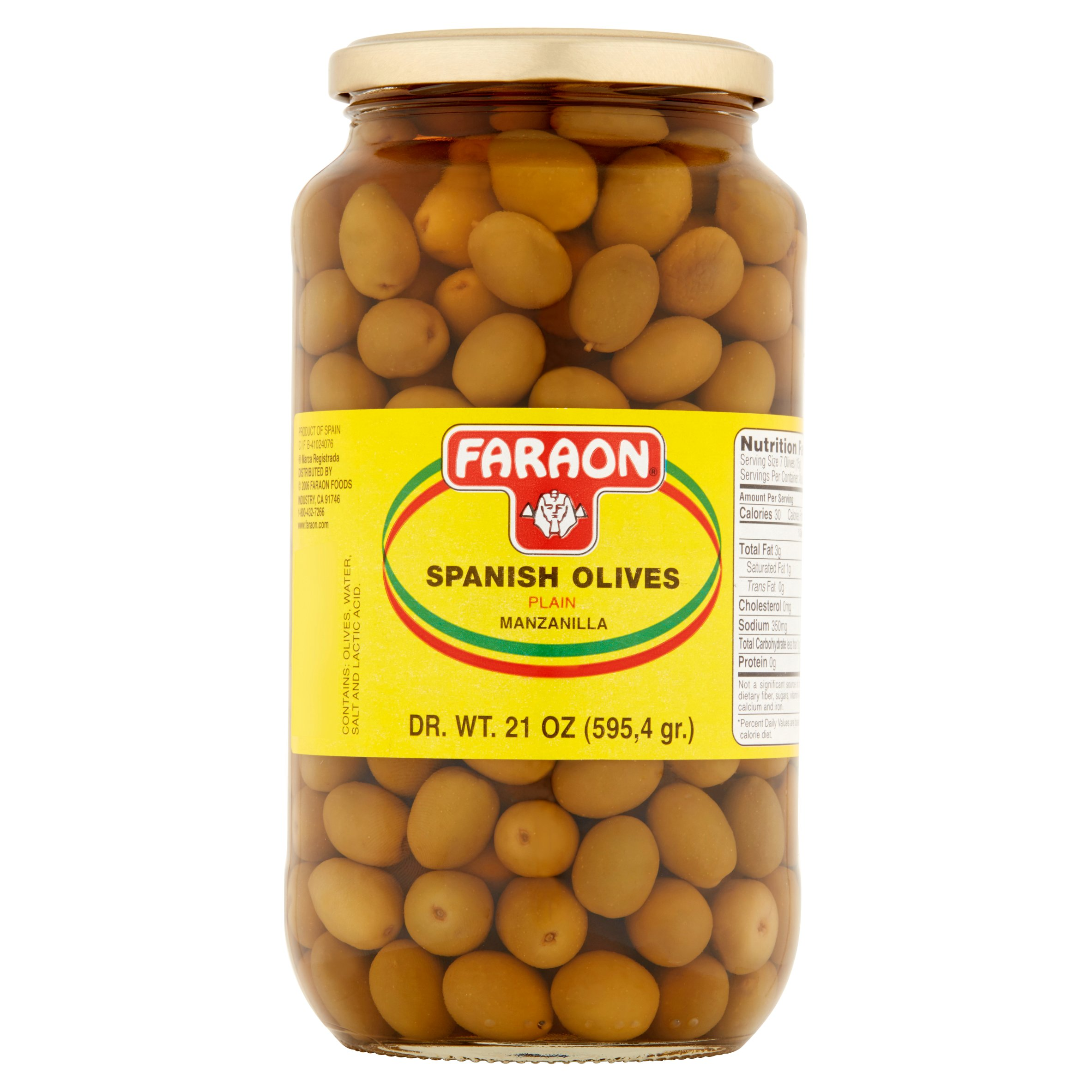 (3 Pack) Faraon Spanish Olives Plain, 21.0 OZ