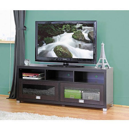 Swindon Modern Dark Brown TV Stand with Glass Doors for TVs up to 60″