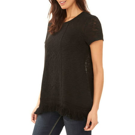 60221fd1b36 Faded Glory Women''s Short Sleeve Lace Front Detail T-Shirt As low ...