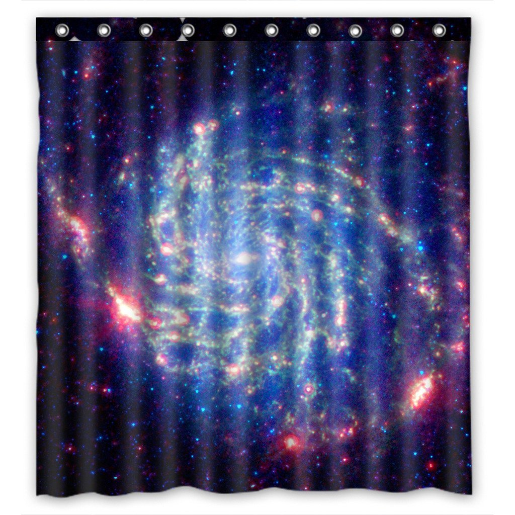 GCKG Universe Space Galaxy Nebula Cloud Outer Space Waterproof Polyester Shower Curtain Bathroom Decor 66x72 inches - image 4 of 4
