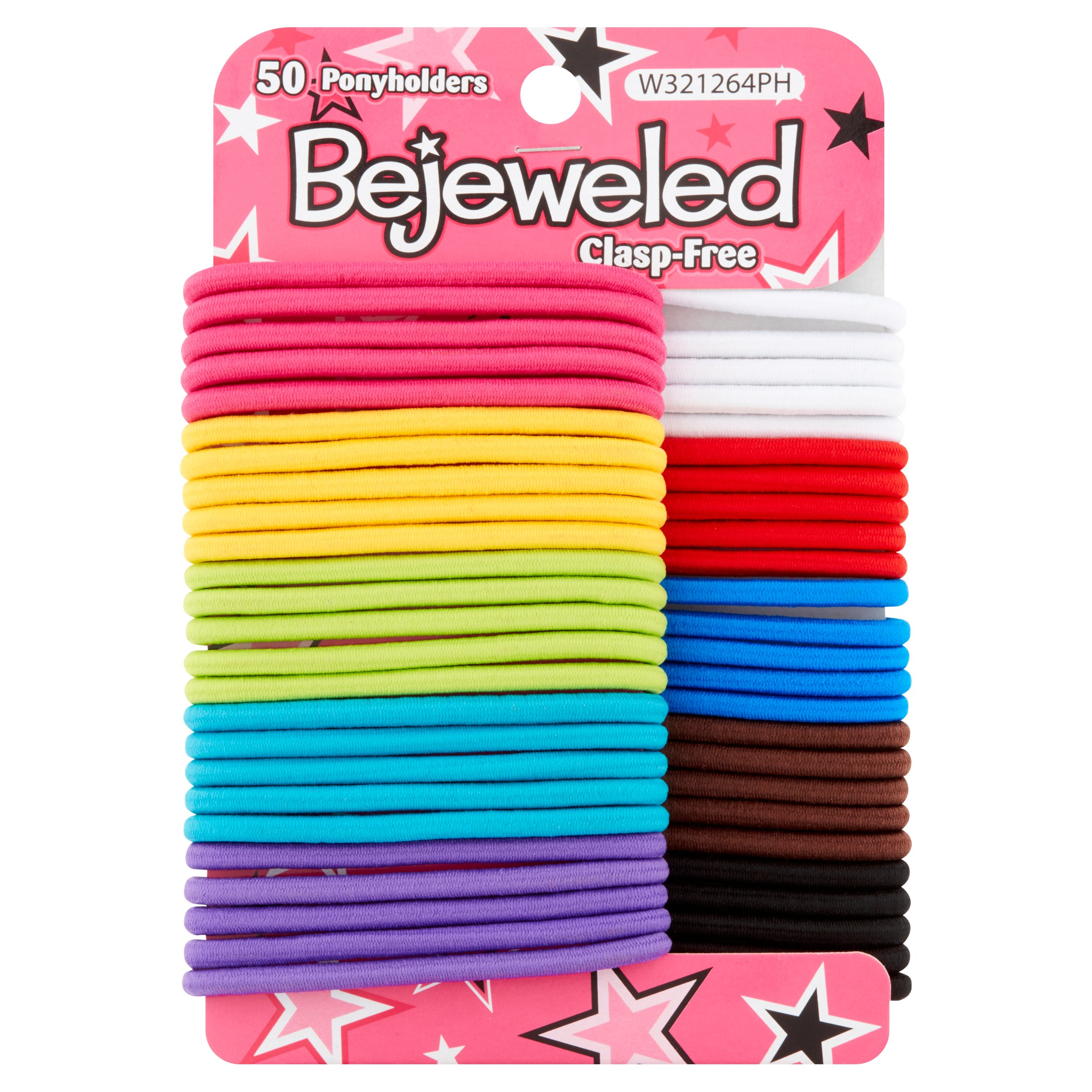 (2 Pack) Bejeweled Clasp-Free Ponyholders, 50 count