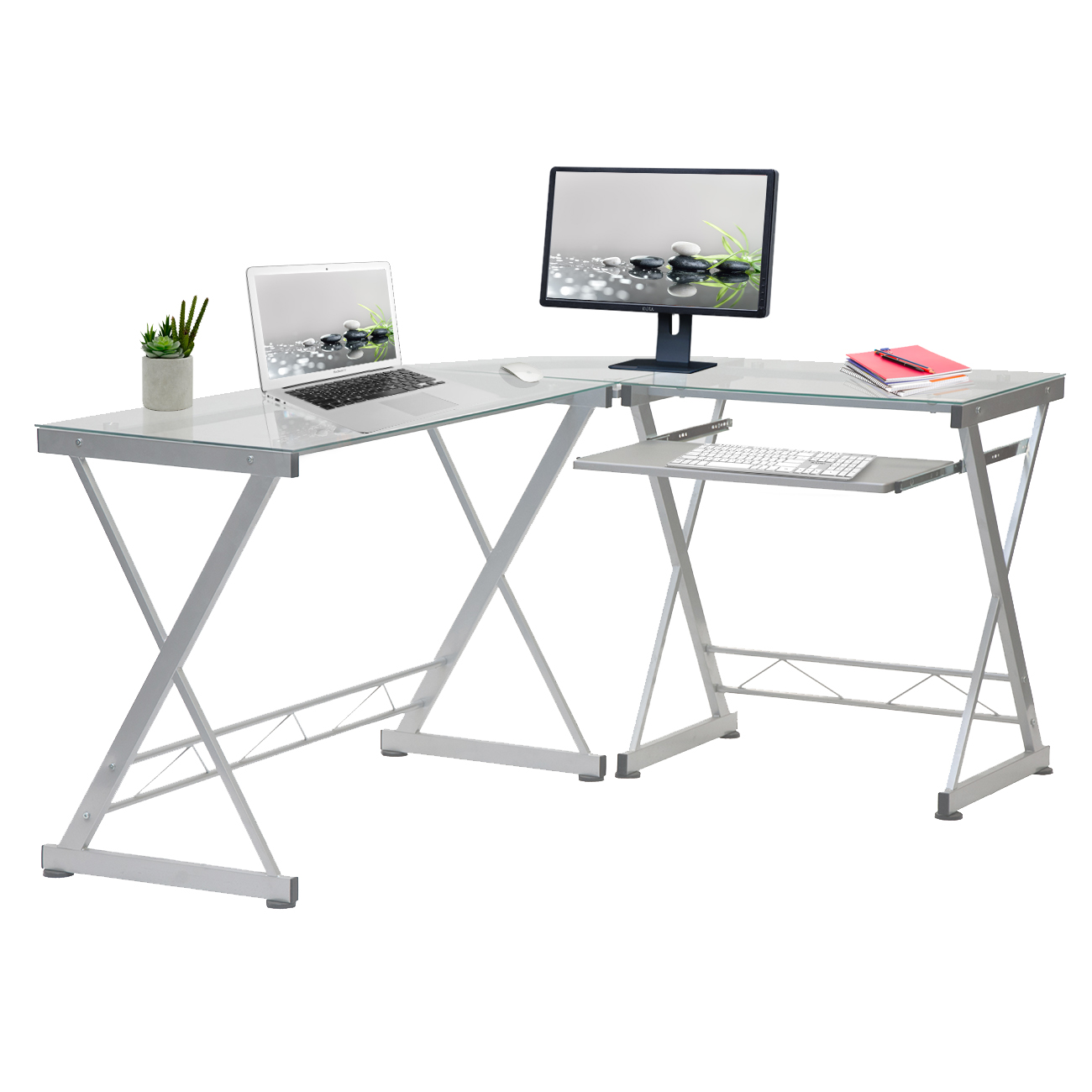 Techni Mobili L-Shaped Tempered Glass Top Computer Desk With Pull Out Keyboard Panel, Clear