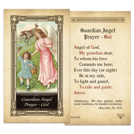 Guardian Angel Prayer - Girl Laminated Holy Card - Pack of 3