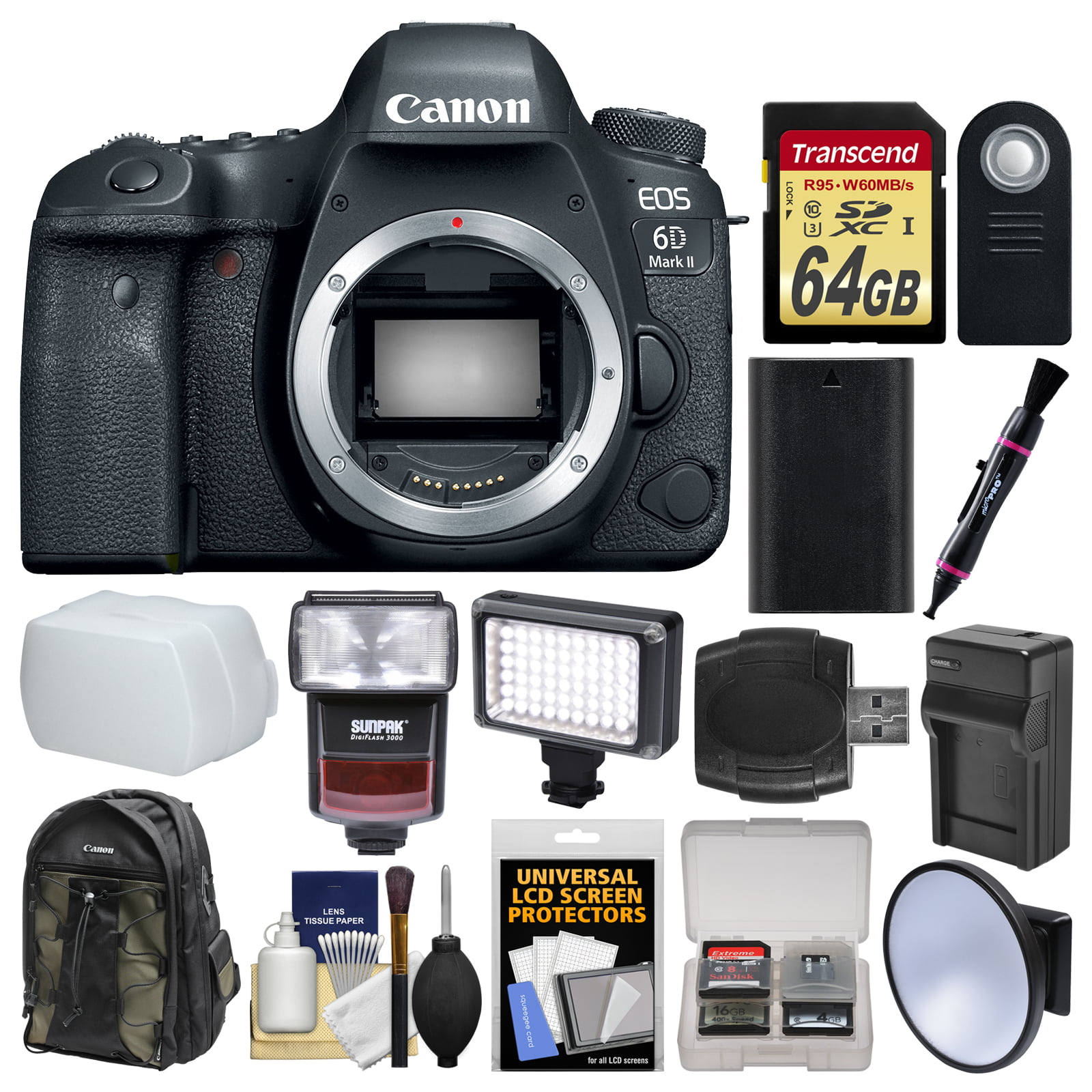 Canon EOS 6D Mark II Wi-Fi Digital SLR Camera Body with 64GB Card + Backpack + Flash + Video Light + Battery & Charger +... by Canon