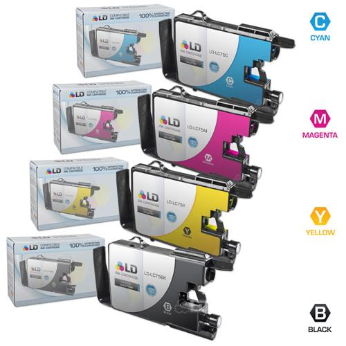 LD Brother Compatible LC75 Bulk Set of 4 High Yield Ink Cartridges: 1 Black LC75BK & 1 each of Cyan LC75C / Magenta LC75M / Yellow LC75Y for use in the Brother MFC-J6510DW & MFC-6710DW
