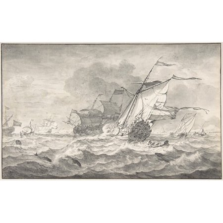 """Merchant Ships and Smaller Sailing Boats in a Strong Breeze Dolphins in the Waves Poster Print by Hendrick Rietschoof (Dutch Hoorn 1687  """"1746 Hoorn) (18 x 24) (Dutch Merchant Ships)"""