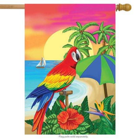 Paradise Parrot Summer House Flag Tropical Island Palm Trees 28
