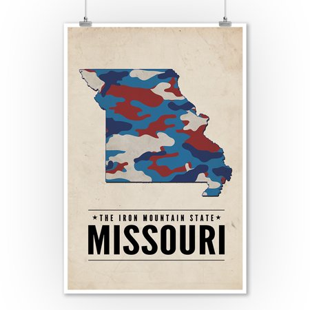 Missouri   The Iron Mountain State   Camo State   Lantern Press Poster  9X12 Art Print  Wall Decor Travel Poster