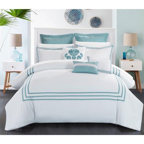 Chic Home Cornelius 12-Piece Bed in a Bag Comforter Set Queen-White Aqua