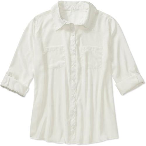 George Women's Plus-Size Woven Oversized Utility Shirt