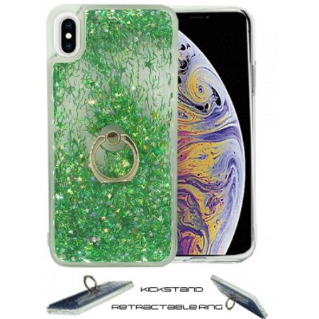 Floating Glitter Star Ring Phone Holder Case for iPhone Xs Max-Green ()