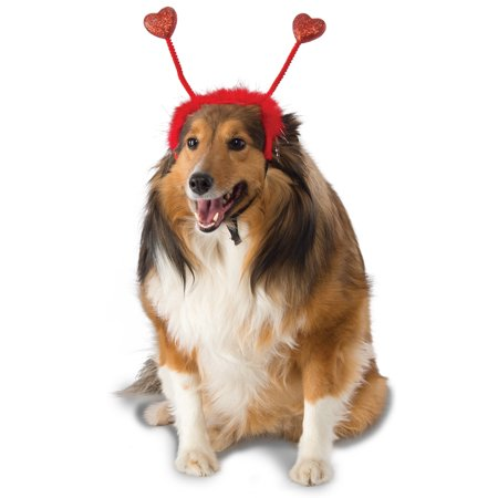 Red Heart Boppers Antennas Pet Dog Cat Valentines Day Headband - Valentine Dog