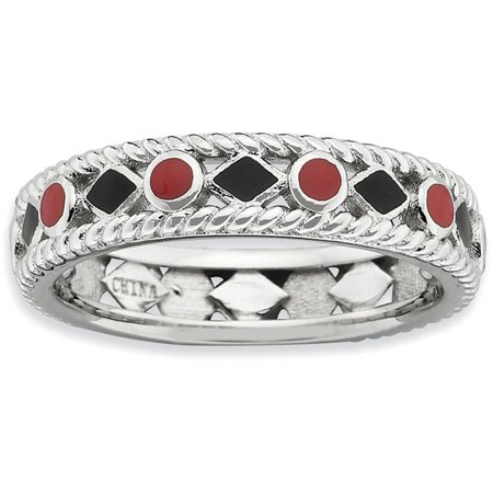 Black White Enamel Rhodium Ring - Sterling Silver Polished Red/Black Enameled Ring
