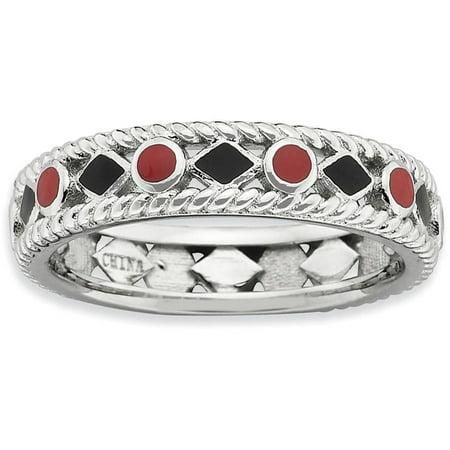 Sterling Silver Polished Red/Black Enameled Ring