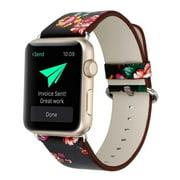 Apple Watch Bracelet, Floral Printed Leather Watch Band 38mm Strap for Apple Watch Flower Design Wrist Watch Bracelet (Black+Red Flower)