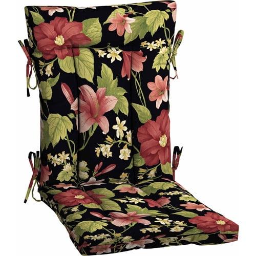 Mainstays Outdoor Euro Style Chair Cushion Black Floral Walmart Com