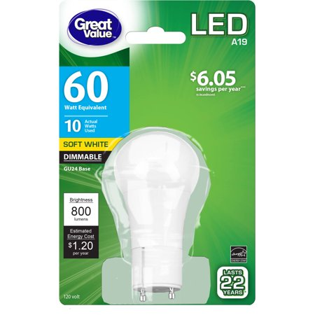 Great Value Led Light Bulb 10w 60w Equivalent A19 Lamp Gu24 Base Dimmable Soft White