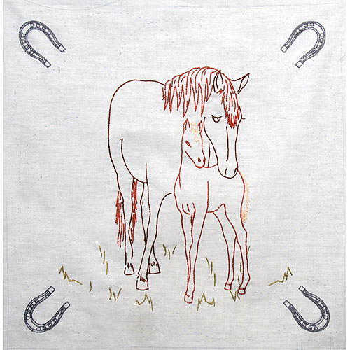 "Fairway Needlecraft Horse And Colt Stamped Quilt Blocks, 18"" x 18"""
